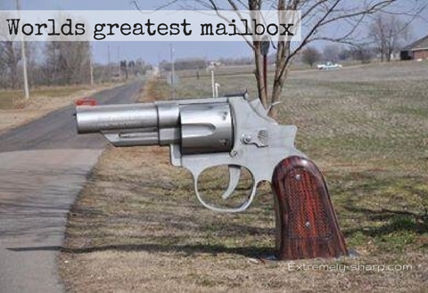 Mailbox shaped like a gun World's greatest mailbox