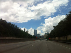Buckhead highway with clouds in sky