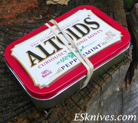 altoid can firestarter kit wrapped