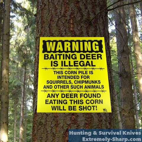 Hunting Baiting Deer is Illegal sign