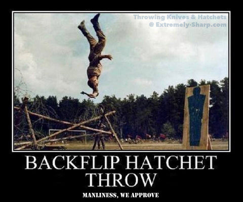 Manly Humor Hatchet Backflip