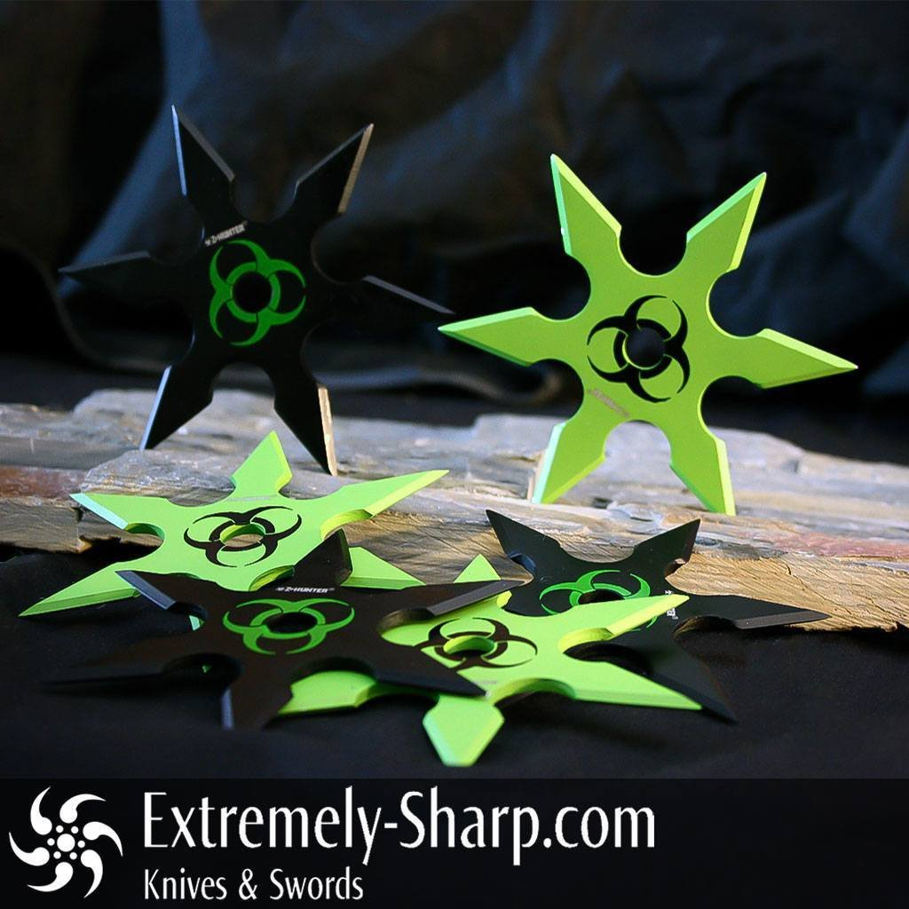 Throwing Stars & Shurikens, Ninja-Martial Arts, Cool Stuff - Bio-Hazard Shuriken 6-piece Set Of Throwing Stars Zombie Extinction