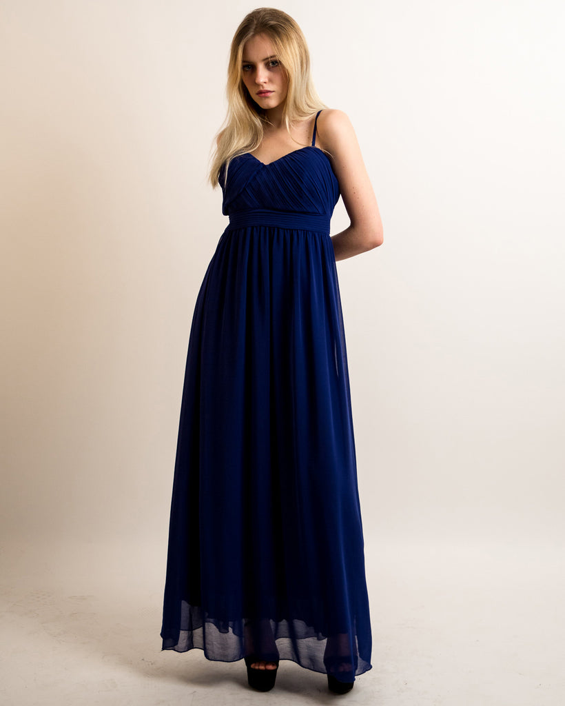 3dfda628ebe2 Pleated Bust & Sweetheart Neckline Maxi Dress (ROYAL BLUE)