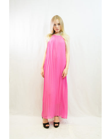 452b1aa3f4 Pleated Full Length Maxi Dress (Pink)