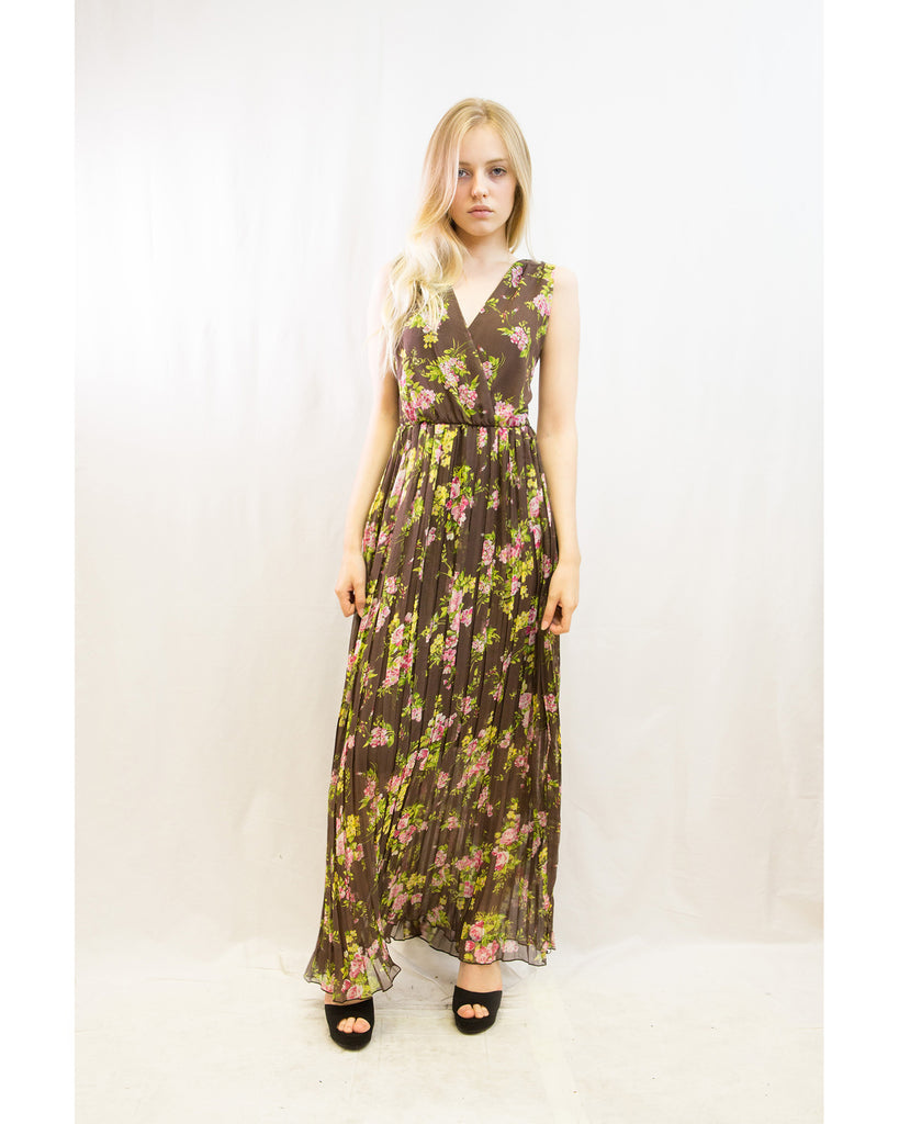 7e65b23ed9 Chiffon Cross Wrap Maxi Dress Brown + Pink Floral – CY Boutique