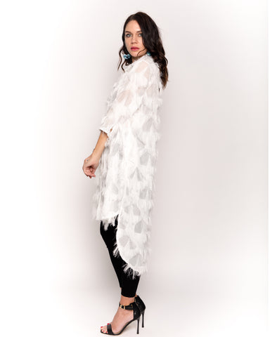 1ae3ab13229d Feather look and star pattern shirt dress