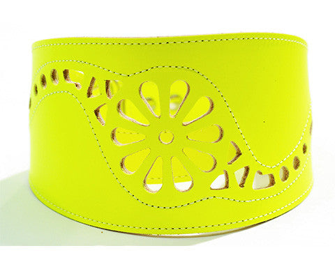 Collar Galgo Martingale Filigrana Amarillo Fluor