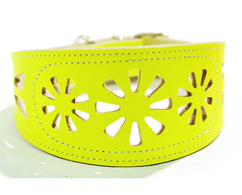 Collar Galgo Filigrana Amarillo Fluor