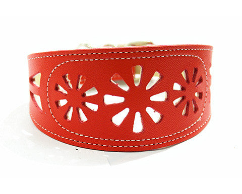 Collar Galgo Filigrana Rojo