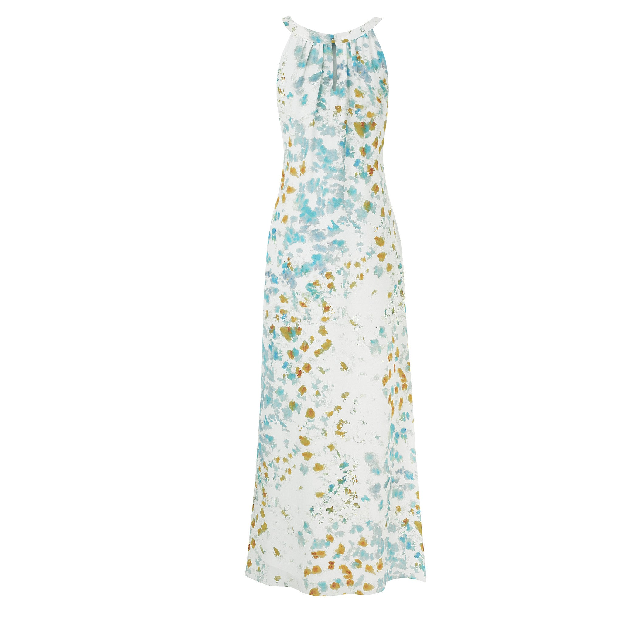 Jemima Maxi Dress - Turquoise and Orange Ink