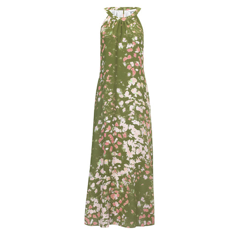 Jemima Maxi Dress - Khaki and Coral Ink
