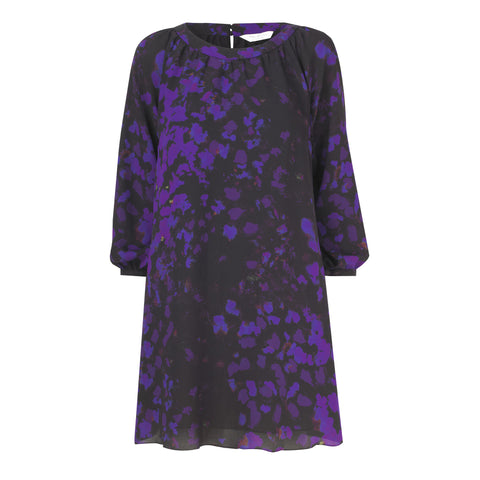 Tabitha Long Sleeve Midi Dress - Raven and Aubergine Ink