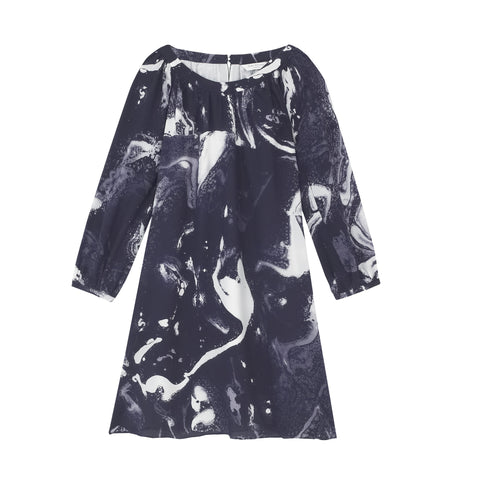 Tabitha Long Sleeve Midi Dress - Navy and White Smoke