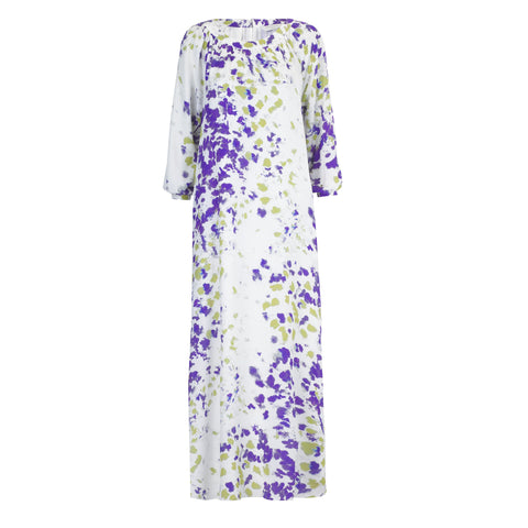 Poppy Long Sleeve Maxi Dress -  Purple and Green Ink
