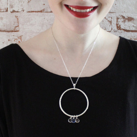 Circle Pendant with Crystal Charms on a Chain Necklace (6)