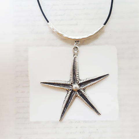 Handmade Starfish Necklace on Leather (197)
