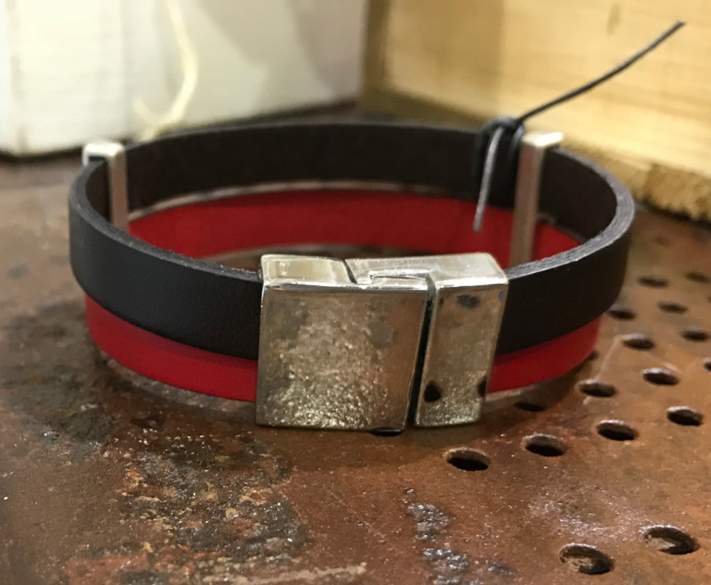 Mens double leather bracelet (SW1 red brown)