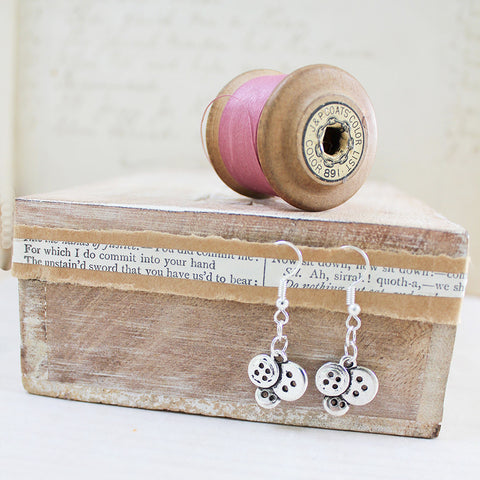 Button earrings silver plated