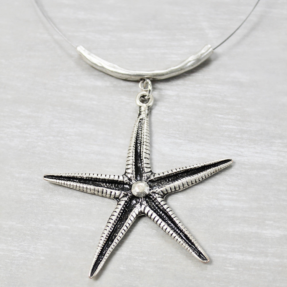 Starfish necklace on a wire