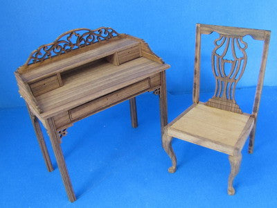 One Inch Scale Chippendale Writing Desk and Chair