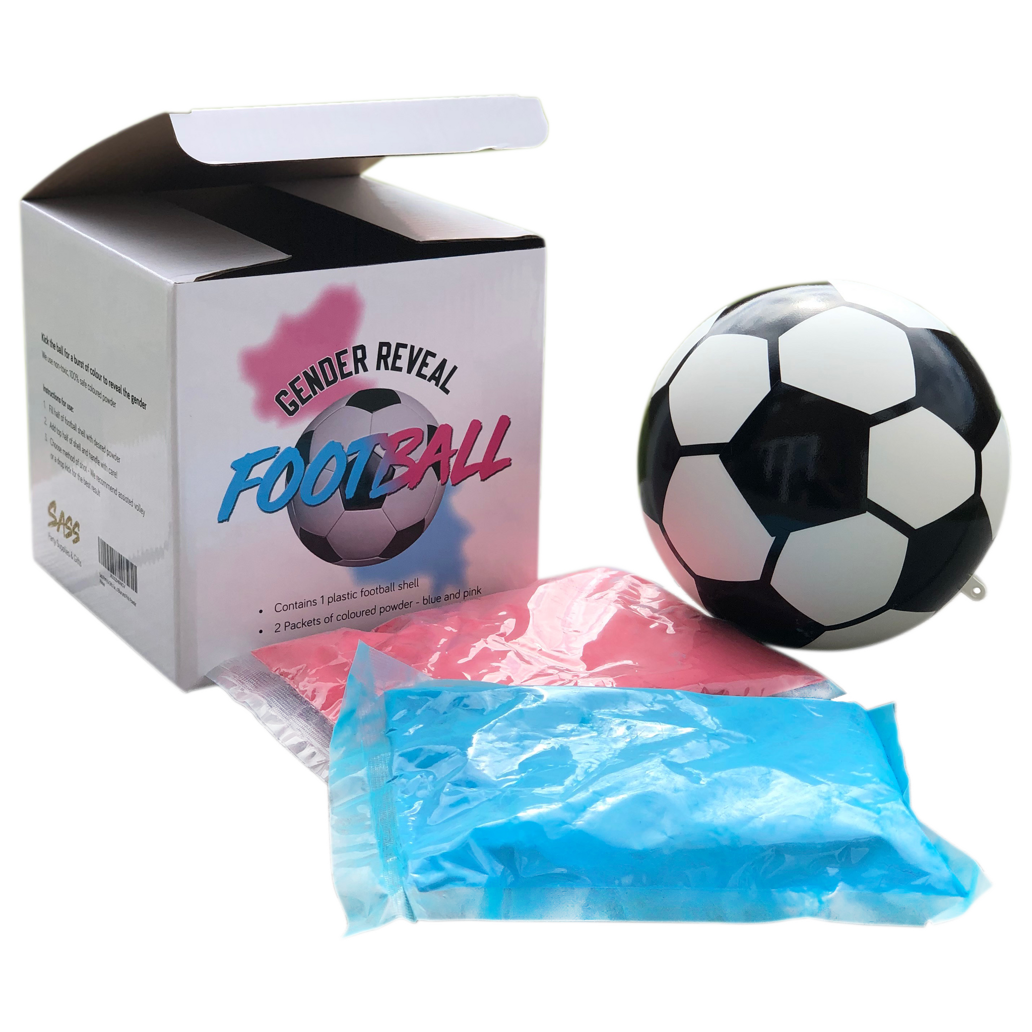 Gender Reveal Exploding Football - Includes Blue and Pink Powder