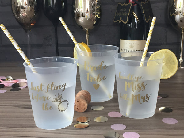 Hen Party Drinking Cups - Pack of 12 designs frosted cup with gold print