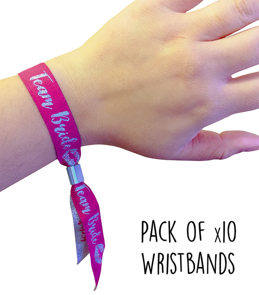 Hen Party Favour Wristbands - Team Bride - Pack of 10 (Pink/Silver)