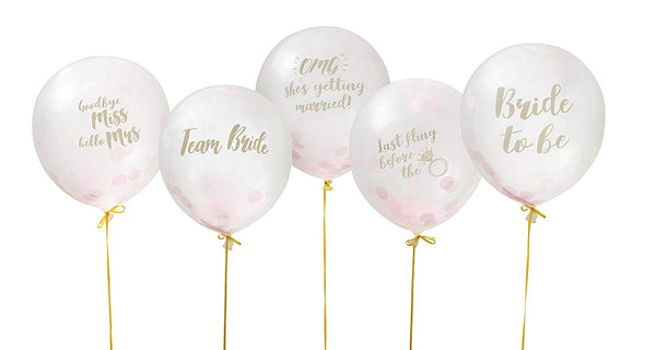 Hen Party Confetti Balloons Pack of 10 - Gold Ribbon Included