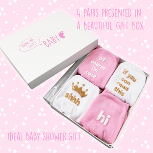 Baby girl sock gift set - Cute hidden messages