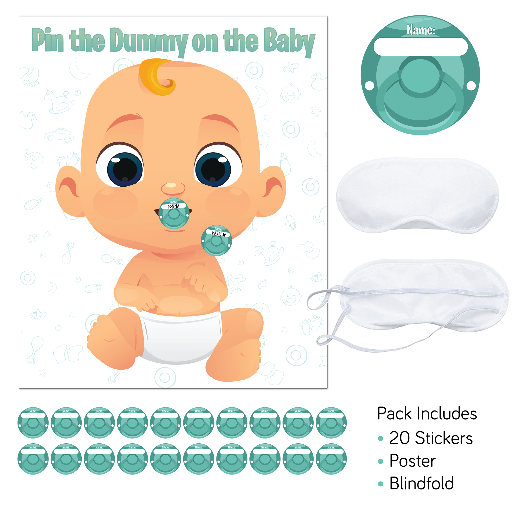 'Pin the dummy' baby shower game
