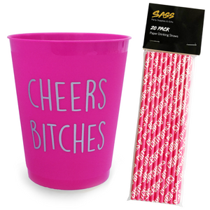 Hen Party Cups & Straws bundle - Cheers Bitches design