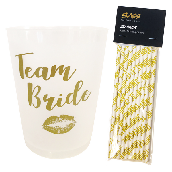 Hen Party Cups & Straws bundle - Team Bride design