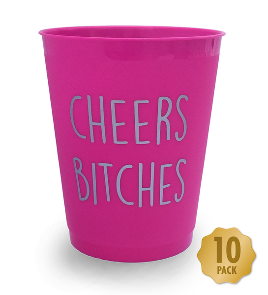 Cheers Bitches Hen Party Drinking Cups - Pack of 10 Hot Pink with Silver Text