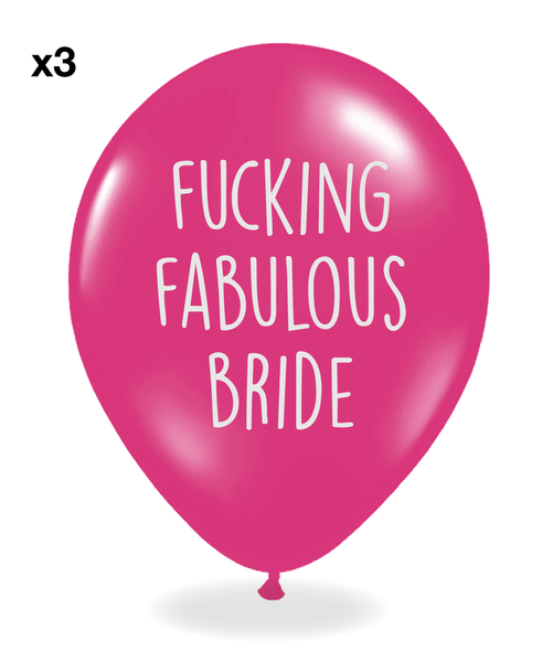 Pink Hen Party balloons with silver print - Pack of 12