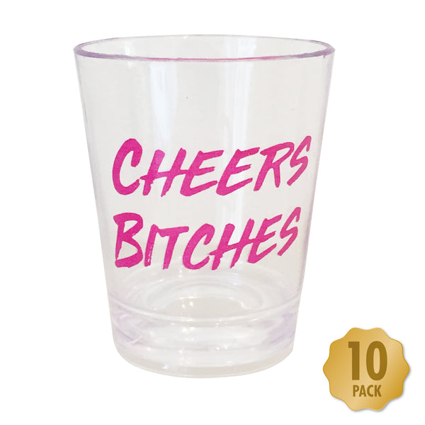 Cheers Bitches Hen Party Shot Glasses - Pack of 10 transparent plastic cups