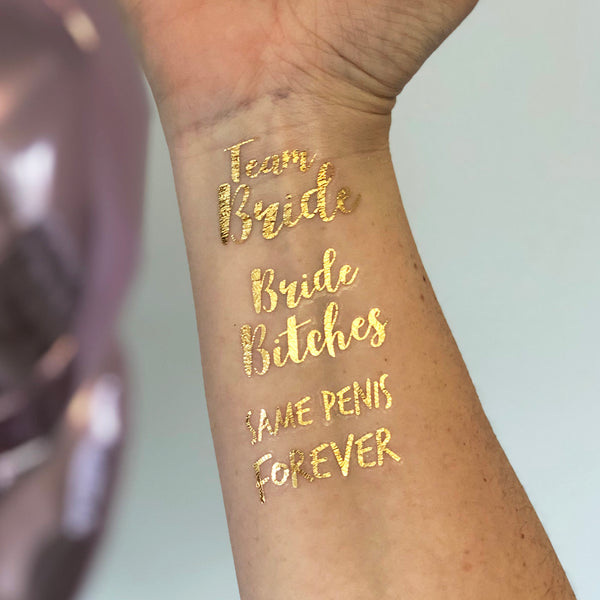 Hen Party Gold Temporary Tattoos, Pack of 48