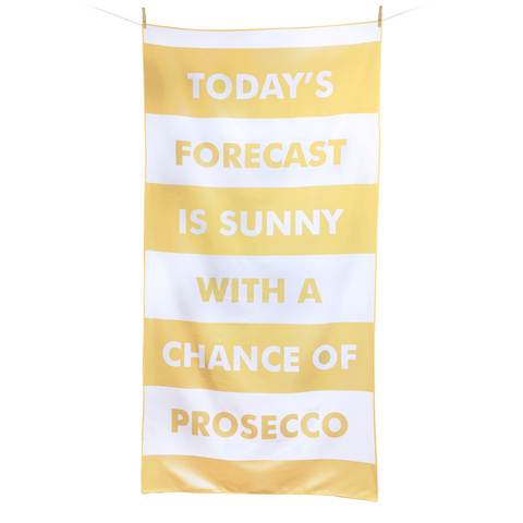 Microfibre Beach & Travel Towel - Today's Forecast Is Sunny With A Chance Of Prosecco