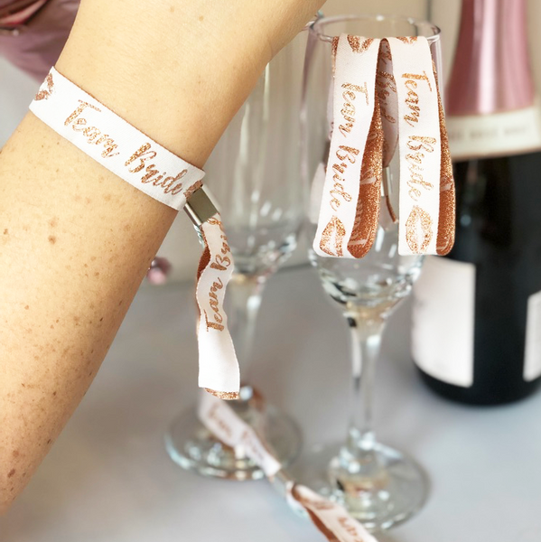 Hen Party Favour Wristbands - Team Bride - Pack of 10 (Rose Gold/Pink)