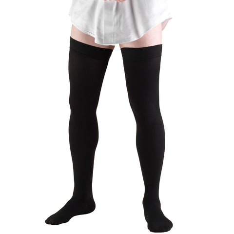 Men's Thigh Length Socks with Rib Knit Pattern, 20-30 mmHg (Truform 1945)