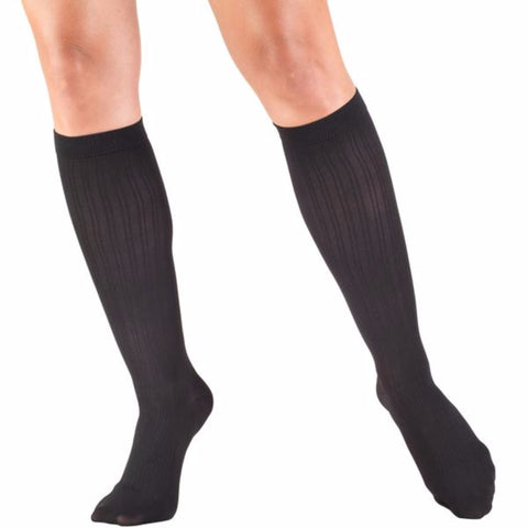 Knee High Sock Black Rib Knit Pattern for Women 15-20 mmHg