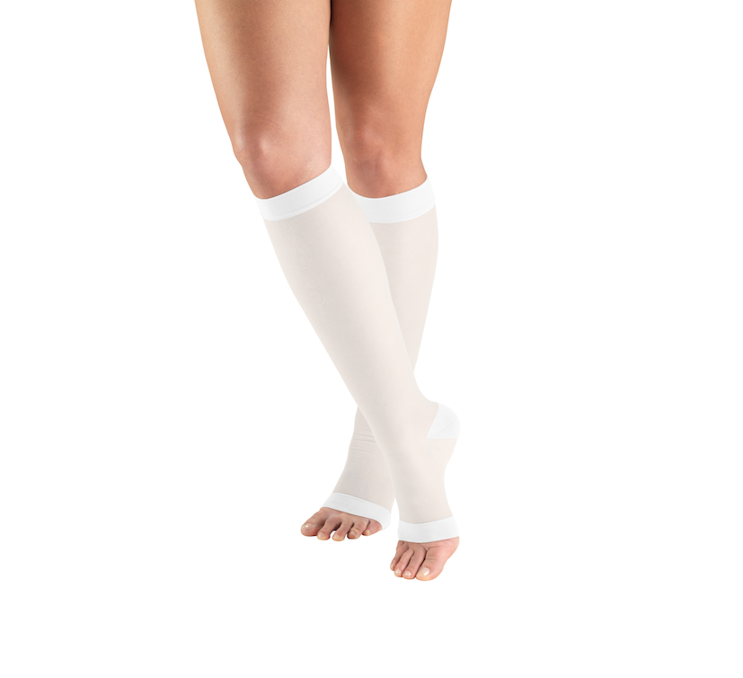 22bc5564aa7 Truform 1772 Sheer 15-20 Below Knee Open Toe White – CompressionStocking.co