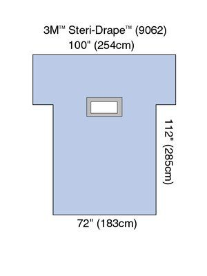 3M 9062 BX/12  STERI DRAPE LAPAROTOMY LAPAROSCOPY 72 X 112IN ARM EXT 101IN