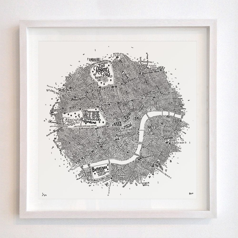 Typography Street Map of London - Dex | Folly & Muse