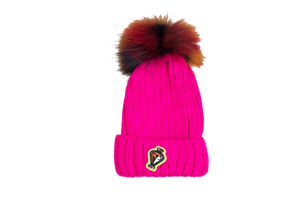 Multicolored Mink Pom Pom Hats