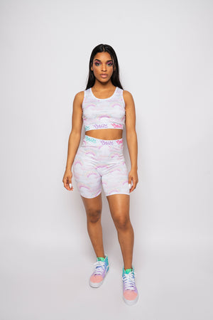 Pastel Rainbow Biker Shorts and Top