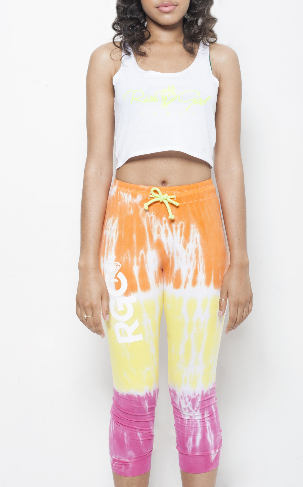 Orange Tye Dye Pants with White Name