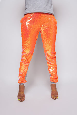 Candy Coated Orange Sequin Joggers