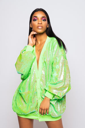 Candy Coated Neon Green Sequin Cardigan