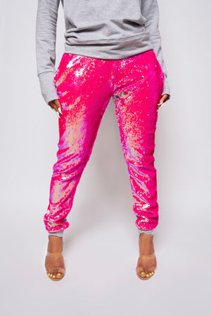Candy Coated Pink Sequin Joggers