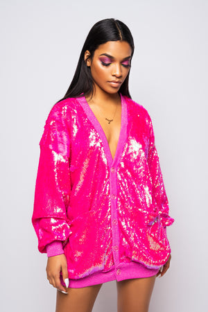 Candy Coated Pink Sequin Cardigan